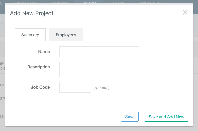 Screenshot showing how to add projects for employees to work on, by clicking the