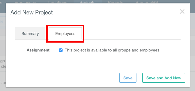 Screenshot showing how to add a new project by entering a Project Name, Project Description and optional Job Code